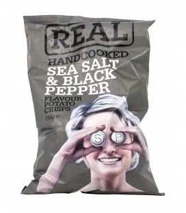 Real Handcooked Sea Salt And Black Pepper Crisps Snacks(150G)