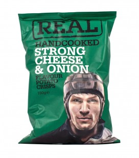 Real Handcooked Strong Cheese And Onion Crisps Snacks (150G)