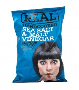 Real Handcooked Sea Salt And Malt Vinegar Crisps Snacks(150G)